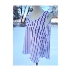Tank Top Red White Black Stripes Casual Leisure